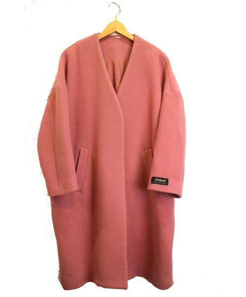 Mila Owen(ミラオーウェン)Mila Owen (ミラオーウェン) ノーカラーミドル丈コート ピンク サイズ:SIZE 0 定価¥25.000+税 19AWの古着・服飾アイテム