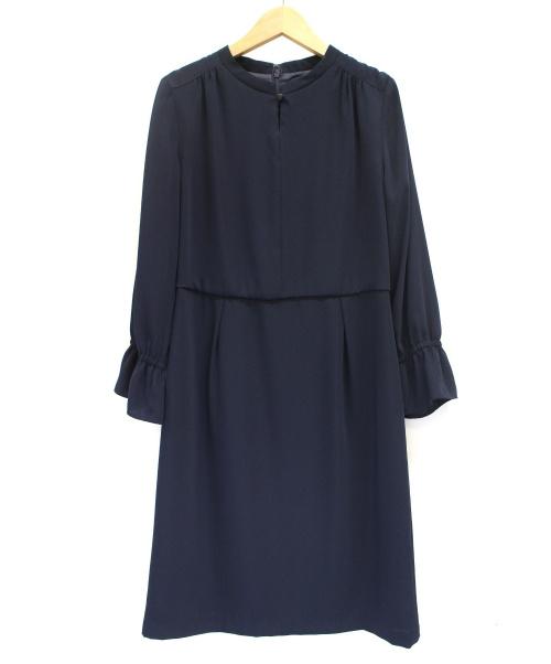 sunauna(スーナウーナ)sunauna (スーナウーナ) 袖ふわキーネックワンピース ネイビー サイズ:36の古着・服飾アイテム