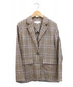 BEAUTY&YOUTH(ビューティーアンドユース)の古着「チェックテーラードジャケット」|ベージュ