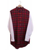 AMI Alexandre Mattiussi(アミ アレクサンドル マテュッシ)の古着「袖切替シャツ」|レッド×ホワイト