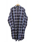 MARGARET HOWELL(マーガレットハウエル)の古着「チェックシャツワンピース」|ブルー×ネイビー