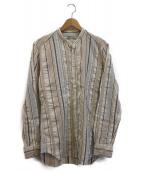 Bevilacqua(ベヴィラクア)の古着「ストライプバンドカラーシャツ」|ホワイト×ベージュ