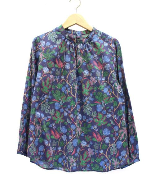savoir(サヴォワール)savoir (サヴォワール) 総柄ブラウス ネイビー サイズ:Mの古着・服飾アイテム