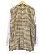 BEAMS BOY(ビームスボーイ)の古着「チェンクヘンリーネックロングテールシャツ」|ベージュ×ブルー