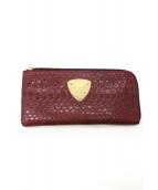ATAO(アタオ)の古着「パイソンレザーL字ファスナー長財布」|レッド