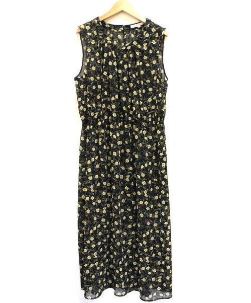 UNTITLED(アンタイトル)UNTITLED (アンタイトル) フラワー楊柳ワンピース ブラック×イエロー サイズ:42の古着・服飾アイテム