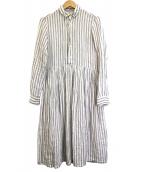 R&D.M.Co-OLDMANS TAILOR(オールドマンズテーラー)の古着「リネンストライプシャツドレス」|ホワイト×サックス