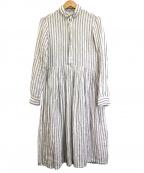 R&D.M.Co-OLDMANS TAILOR(アールアンドディー エム コー オールドマンズテーラー)の古着「リネンストライプシャツドレス」|ホワイト×サックス