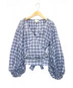 MICHAEL KORS(マイケルコース)の古着「カシュクールブラウス」|ブルー×ホワイト