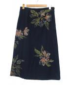 PALLAS PALACE(パラスパレス)の古着「インディゴ花柄ロングスカート」|ネイビー