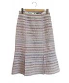 leur logette(ルールロジェット)の古着「ファンシーツイードフレアスカート」 ホワイト×パープル