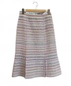 leur logette(ルルロジェッタ)の古着「ファンシーツイードフレアスカート」 ホワイト×パープル