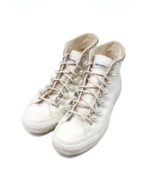 MUVEIL(ミュベール)MUVEIL (ミュベール) パールハイカットスニーカー ホワイト サイズ:下記参照 MA73ESH002の古着・服飾アイテム