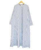 S Max Mara(エス マックスマーラ)の古着「ストライプマキシシャツワンピース」|ブルー×ホワイト