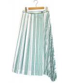 DES PRES(デ・プレ)の古着「ポリエステルストライプダブルプリーツスカート」|ホワイト×グリーン