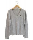 lucien pellat-finet(ルシアンペラフィネ)の古着「ワンポイント刺繍カシミヤニット」 グレー