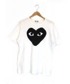 PLAY COMME des GARCONS(プレイコムデギャルソン)の古着「ハートプリントTシャツ」|ホワイト×ブラック