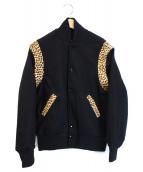 SKOOKUM(スクーカム)の古着「レオパード切替スタジャン」|ブラック