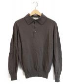 JOHN SMEDLEY(ジョンス メドレー)の古着「ニットポロシャツ」|ブラウン