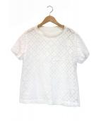 45R(フォーティファイブアール)の古着「リネン天竺のカットワークTシャツ」|ホワイト