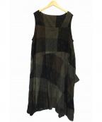 慈雨(ジウ)の古着「デザインノースリーブドレス」|ブラウン