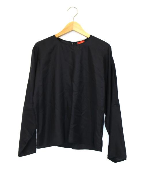 DES PRES(デ・プレ)DES PRES (デ・プレ) パウダリーシルクバックギャザーブラウス ブラック サイズ:36 未使用品の古着・服飾アイテム