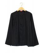 DES PRES(デ・プレ)の古着「パウダリーシルクフロントタックシャツ」|ブラック