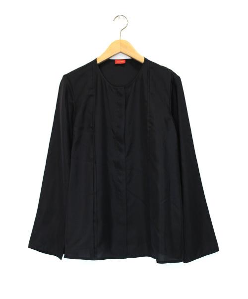 DES PRES(デ・プレ)DES PRES (デ・プレ) パウダリーシルクフロントタックシャツ ブラック サイズ:36の古着・服飾アイテム