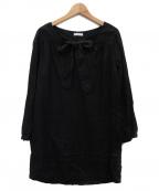 fog linen work()の古着「リネンチュニックブラウス」|ブラック