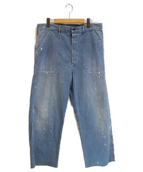 orSlow(オアスロウ)orSlow (オアスロウ) カットオフペンキ加工デニムパンツ ライトインディゴ サイズ:JPN Lの古着・服飾アイテム