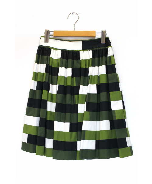 PRADA(プラダ)PRADA (プラダ) 総柄ミディスカート ホワイト×カーキ サイズ:38の古着・服飾アイテム