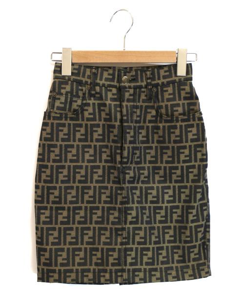 FENDI(フェンディ)FENDI (フェンディ) ズッカ柄スカート ベージュ×ブラック サイズ:40の古着・服飾アイテム