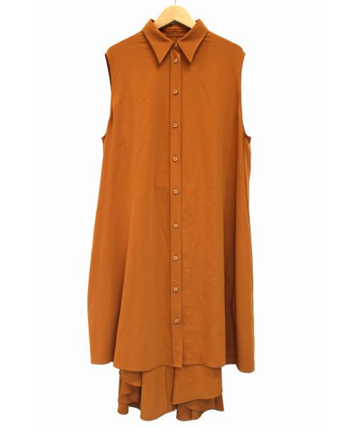 MM6 Maison Margiela(エムエムシックスメゾンマルジェラ)MM6 Maison Margiela (エムエムシックスメゾンマルジェラ) フレアノースリーブワンピース オレンジ サイズ:42の古着・服飾アイテム