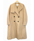 ENFOLD(エンフォルド)の古着「中綿ノーカラートレンチコート」|ベージュ