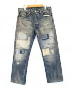 BURGUS PLUS(バーガスプラス)の古着「パッチワークデニムパンツ」 インディゴ