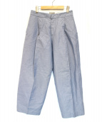 MARGARET HOWELL(マーガレットハウエル)の古着「リネンコットンプレスワイドパンツ」 ブルー