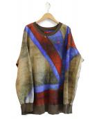 Vivienne Westwood RED LABEL(ヴィヴィアンウエストウッド レッドレーベル)の古着「リブ切替総柄スウェット」|ブルー×レッド