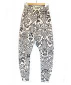 V.W. RED LABEL(ヴィヴィアンウエストウッドレッドレーベル)の古着「ブロケードプリントスウェットパンツ」|ホワイト×ブラック