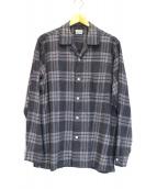 STEVEN ALAN(スティーヴンアラン)の古着「オープンカラーチェックシャツ」 グレー