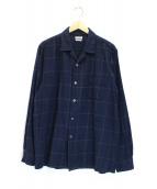 STEVEN ALAN(スティーヴンアラン)の古着「オープンカラーチェックシャツ」 ブルー