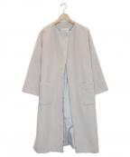 le.coeur blanc(ルクールブラン)の古着「メリノビーバーノーカラーガウンコート」 ベージュ