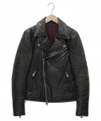 ISAMU KATAYAMA BACKLASH()の古着「ダウンライダースレザージャケット」|ブラック