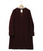 khaju(カージュ)の古着「モヘア混ノーカラーコート」|レッド