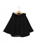 BURBERRY CHILDREN(バーバリー チルドレン)の古着「フーデッドポンチョ」 ブラック×ベージュ