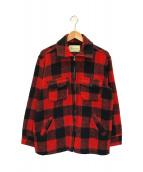 ()の古着「[古着] バッファローチェックジップジャケット」|レッド×ブラック