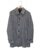 ()の古着「縮絨チェックシングルコート」|グレー