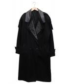 ()の古着「【古着】レザー切替ロングコート」|ブラック
