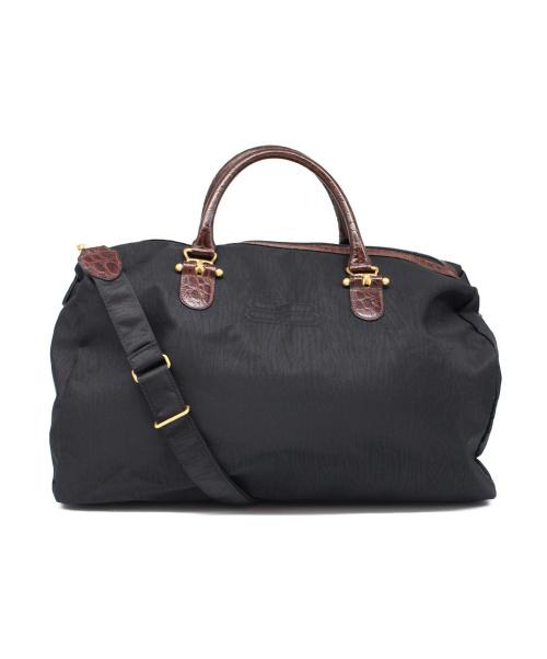 BALENCIAGA(バレンシアガ)BALENCIAGA (バレンシアガ) クロコ型押し2WAYボストンバッグ ブラック サイズ:下記参照 -の古着・服飾アイテム