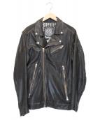 ()の古着「USED加工ダブルライダースジャケット」|ブラック
