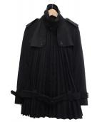 JUNYA WATANABE CdG(ジュンヤワタナベコムデギャルソン)の古着「プリーツトレンチコート」|ブラック